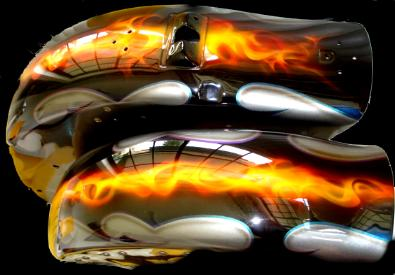 Grafix in Black Pearl,With realistic flames over a dark silver base on Harley Tin's.
