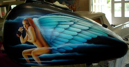 Airbrushed angel mural on Harley Davidson tank