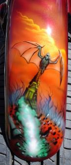 Airbrushed ,Bat out of hell, meatloaf, murals on Harley Davidson
