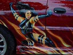 Airbrushed flames and mural on Hyundai