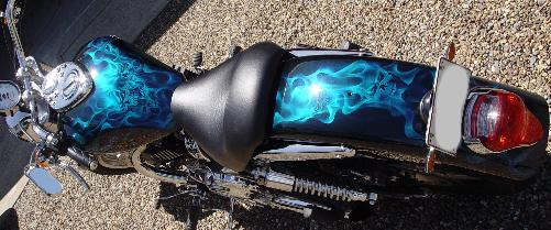 Triumph with realistic flames and skulls