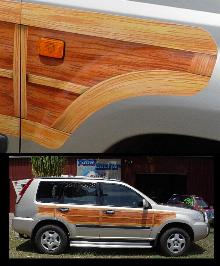 Airbrushed woodgrain on Nissan Xtrail